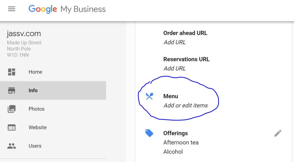 Google My Business - Menu Feature for restaurants