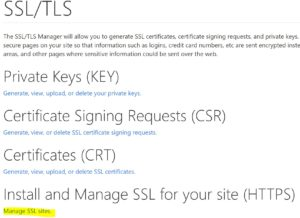 Select Manage SSL
